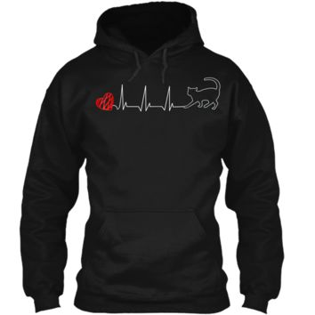 Cat Heartbeat  - Cat Lover  EKG Kitty Cute  Pullover Hoodie 8 oz