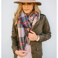 Zoe Plaid Scarf - Oversized plaid scarf. Folded horizontally or wrapped around