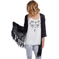 Black longline knitted jacket with fringing