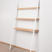 Leaning Shelf: Modern Contemporary Bookcase Bookshelf Ash Wood on White Powdercoated Metal