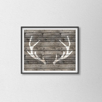 Deer Antler Shabby Chic Art Print. Wood Texture. Rustic Wall Art. Modern Home Decor. Animal Print. Chic Art.