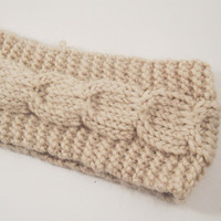Beige knit headband, ear warmer, head warmer, winter accessories, handmade, alpaca wool