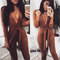 Vintage Deep V-Neck Sashes Bow Suede Jumpsuit Autumn Winter Sexy Women Office Overalls Combinaison Femme Cropped Womens Rompers