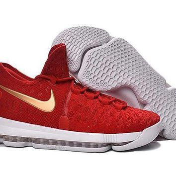 ONETOW 2016 Nike KD 9 Red/White Gold Men¡¯s Basketball Shoes