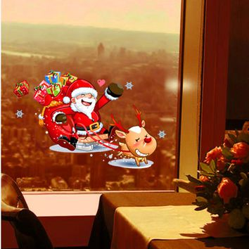 Santa Claus Christmas Windows Removable Wall Stickers christmas