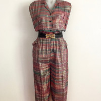 Vintage 1980s sleeveless, lurex and cotton knickerbocker jumpsuit wit fold-over collar, side pockets and tie cuffs