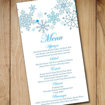 Printable Wedding Menu Card Template | Wedding Reception Menu Winter Wonderland Snowflakes Blue - Downloadable Winter Wedding Menu