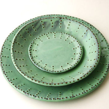 Dinnerware Set for 4 - 16 Peices - Aqua Mist - Dinner Salad Dessert Bread Plate and Bowl - French Country
