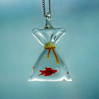 Fish in a Bag Necklace Glass Pendant Miniature Tiny Cute Whimsical Kitsch Nature Water Aqua Transparent Airy