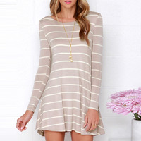 Striped Print V Back Stretch Knit Trapeze Dress