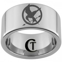 12mm Pipe Tungsten Laser Hunger Games Mockingjay Ring Sizes 5-15