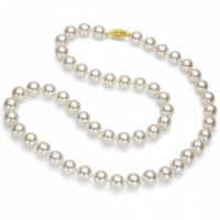 18k Yellow Gold 7-7.5mm White Japanese Akoya Necklace @ Jewelry Wonder