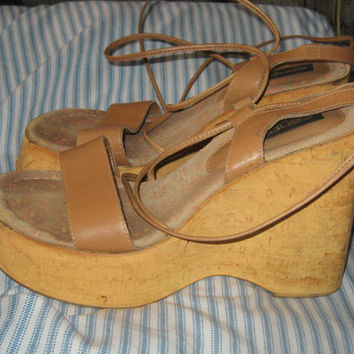 Vintage Cork and Leather Wedge PLATFORM  Sandals with Ankle Laces Sz. 8 / 39 EUR  by Candies