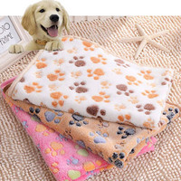 2016 Soft Pet Dog Blanket Beds Mat Cute Pet Warm Paw Print Floral Dog Puppy Fleece