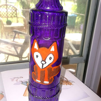 Woodland Fox Painted Purple Wine Bottle Wine Maker Supply Original Artwork with Glitter Leaves Handmade Gift Idea