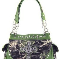 Soft Velvety Camouflage Rhinestone Cross Satchel Purse Green Trim (Green)