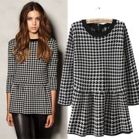 Half Sleeve Houndstooth Peplum Top