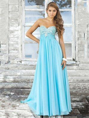 A-line Strapless Sweetheart Empire Beaded Bodice Long Chiffon Prom Dress PD1971 Dresses UK