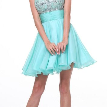 Sleeveless Beaded Bodice Homecoming Short Dress Mint