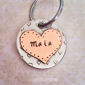 Personalized dog tag, hand stamped pet tag,dog ID tag, dog name tag, hearts