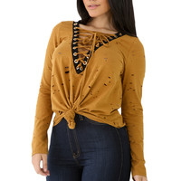Yellow Lace-up V Neck Sliced Knot Long Sleeve Top