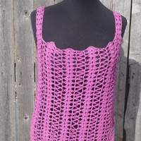 Radiant Orchid tank top, festival wear, crochet top. Ready to ship!