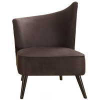 Elegant Accent Chair With Flared Back (Left Side) In Black Microfiber