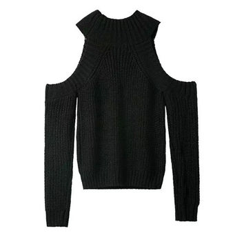 Black Cutout Shoulder Knitted Sweater