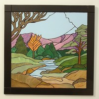 Wood Wall Decor, Mountains and Meadows, Intarsia Wood Art
