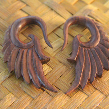 "2g Wooden Ear Gauges, Pair of Tribal Angel Wings Wood Earring 1/4"" 6mm 2ga, 2g Abstract Wings Ear Stretcher"
