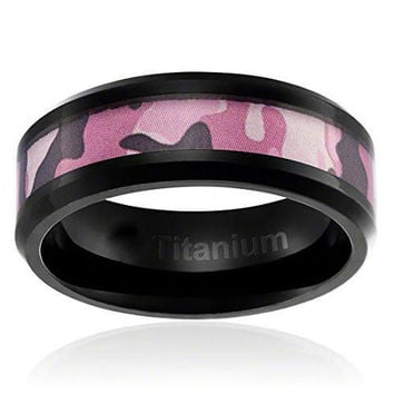 8MM Comfort Fit Titanium Camo Ring Black Plated Wedding Band with Pink Camouflage Inlay Beveled Edges | FREE ENGRAVING