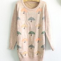 Color Umbrella Pattern Round Neck Sweater