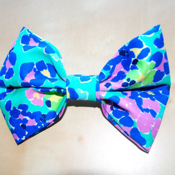 "Designer Lilly Pulitzer ""Lagoon Greens/It's All a Blur"" Fabric Print Hair Bow"