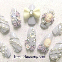 Elegant Cameo & Rose nails in Pastel Periwinkle  by KawaiiClaws