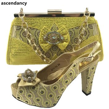 Gold Color Italian Shoes and Bag To Match Shoes with Bag Set Decorated with Appliques High Quality African Wedding Shoes and Bag
