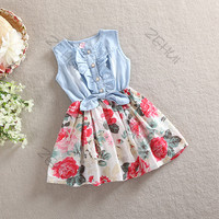 1PC Kids Girls Princess Jean Denim Skirts Bow Big Flower Ruffled Sundress 2-6Y