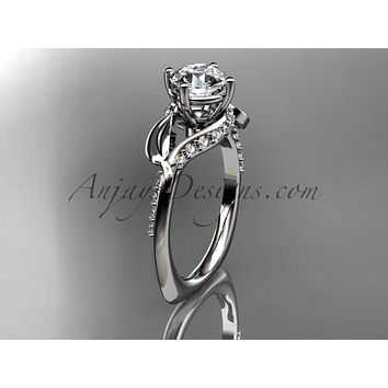 """Unique 14k white gold diamond leaf and vine wedding ring, engagement ring with a """"Forever One"""" Moissanite center stone ADLR225"""
