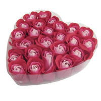 JEYL 24 Pcs Practical Red Scented Bath Soap Rose Flavor Petal in Heart Box