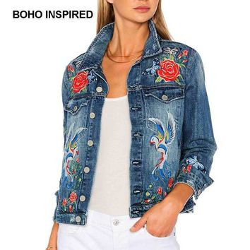 Floral Embroidered Denim Jean Jacket