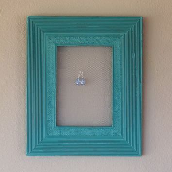 Aqua Sea Green Wood Picture Frame Earring by BeachCoveJewelry