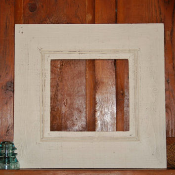 Wide Whitewashed Barnwood Frame, Gallery Frame, 22x21, Shabby Chic Frame, Rustic Frame, Wedding Reception Frame, Large Frame, Open Frame