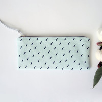 20% OFF/ hand screen printed pencil case with rain drop print, light blue and black stationary, hipster pencil pouch