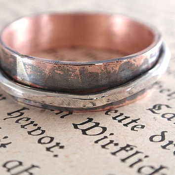 copper silver ring hammered copper ring with silver ring 6mm wide mens ring oxidized copper ring alternate wedding ring band