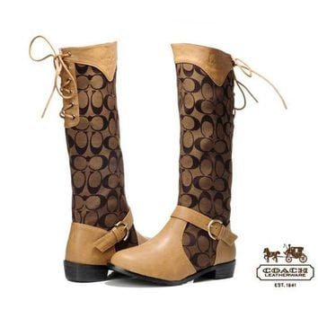 COACH Women Fashion In Tube Boots Low-heeled Shoes