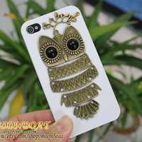 White Hard Case Cover With Vintage Cute Owl, Branchfor Apple iPhone 4 4g 4s 4gs MB273