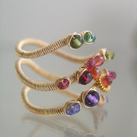 Multi Gemstone Gold Layered Ring, Colorful Wire Wrapped Ring, Gemstone Ring, Sapphire, Tourmaline, Size 6, Signature Ring, Original Design