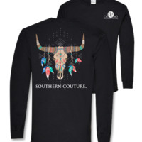 Southern Couture Tribal Aztec Skull Feathers Girlie Bright Long Sleeve T Shirt