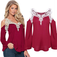 Summer Sexy Women Casual Tops Long Sleeve