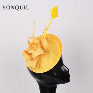 High quality 15color yellow banquet headwear nice sinamay fascinators hats wedding hair accessories party hats bridal headpieces