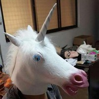 PEAPGB2 Factory Price! Creepy Unicorn Head Latex Mask Halloween Costume Theater Prank Prop Crazy Mask